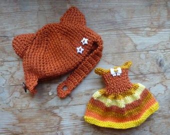 dress and bonnet knitted pullip kawaii Fox