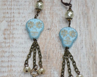 ON SALE Boho Chic Czech Sugar Skull Beads with Pearls and Skeleton Key Charm Chain Dangle Earrings