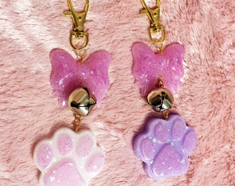 Lolita Kitty Keychain or Charm - Glittering Bow with Bell & Cat Paw