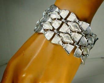 CORO signed Bracelet, Art Deco Revival WIDE Silver Links, 1960s Shiny Early Punk or Rocker Edgy