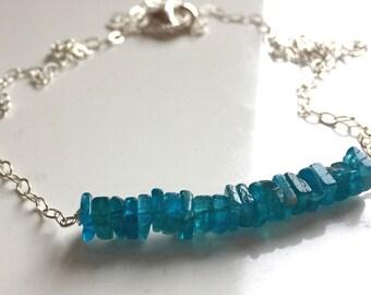Neon Apatite Heishi Bar Necklace,  minimalist necklace, gift idea