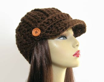 Brown Newsboy hat Crochet Newsboy Cap Brown News boy Chocolate Hat Brown Knit Newsboy Brown Cap with Visor Adult Brown Hat Crochet News boy