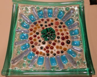 Field of Flowers Fused Stained Glass Sushi/Hors d'oeuvres plate.