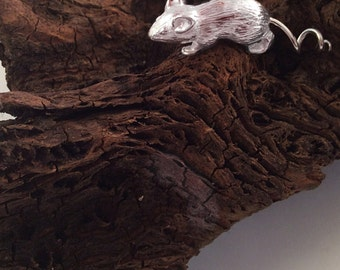 Silver Running Mouse Ornament, Silver Mouse, handmade, Hallmarked Silver