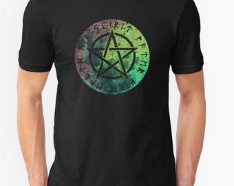 Nordic Runes - Pentacle - 5 Elements - T-shirt tee || Unisex Super Soft tee// 35 colors /Magic / Norse Runes / Pagan / Wiccan/ Witch /Viking