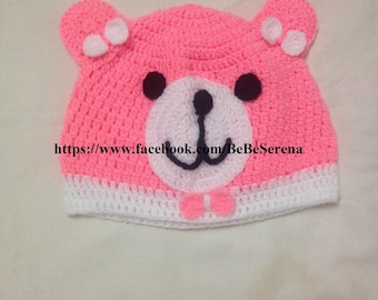 The small neon pink Teddy bear crochet Hat
