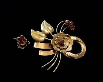 Vintage Vermeil Brooch and screw back earrings