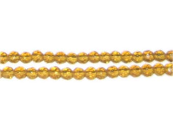 "4mm Gold Faceted Round Glass Bead, 12"" string"