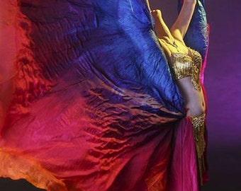 Bauchtanz Kostüm Seide Schleier gemischt Hand gefärbt in Hawaii