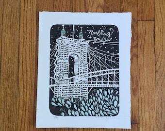 Roebling Bridge Block Print