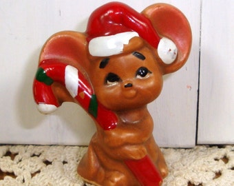 Tiny Brown Christmas Mouse Figurine, Ceramic, Chippy, Santa Hat, Candy Cane  (117-14)