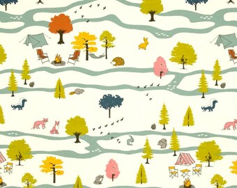 Campout Main Print on Cream From Birch Organic Fabric's Camp Sur 3 Collection by Jay-Cyn Designs