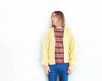 vintage cardigan / grandpa cardigan / oversize / grunge / 1960s butter yellow alpaca knit grunge cardigan Large