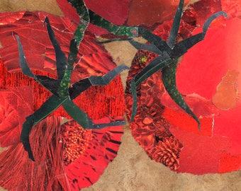 Tomat a Trois art tile. Coaster. Contemporary decor.