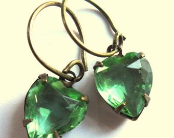 Glass Heart Earrings Pale Green Claw Set Romantic Jewelry
