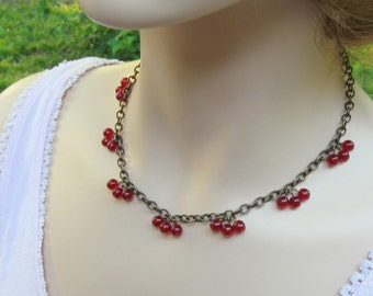 Red Berry Necklace, Woodland Jewelry, Red Cherry Necklace, Autumn Jewelry, Gift for mom, Under 50, Nature Lover, Boho Charm, Shabby Chic