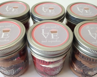 6 (8oz) Cupcakes In A Jar-Mason Jars-All You Need is Love and Cupcakes-Wedding Favors-Bridal Shower Favors-Favors-Pink-Love-Gray-Cupcakes