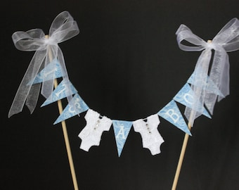 Baby shower cake topper, 'It's a Boy' cake banner, cake bunting, cake flags, blue flags with white letters