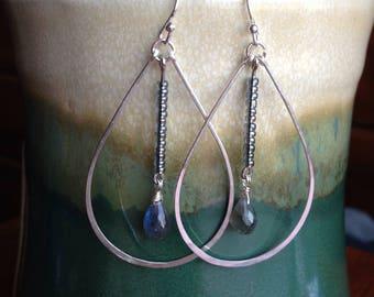 Labradorite tear drop dangle earrings silver filled wire