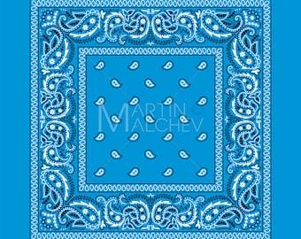 Bandana Colorful - Vector Clipart Illustration. bandanna, western, gang, paisley, blue, kerchief, background, handkerchief, scarf, print,