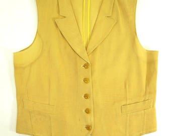 Vintage 30s Gabardine Waistcoat Vest Small Bakelite Beckers Depression [I01Z_0-10] QxhDTqH