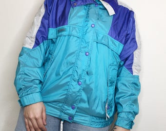 Vintage 90s Columbia Color Block Windbreaker Retro Jacket 1990s VTG Zip Up