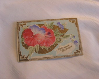 Cheery Pansy Birthday Greeting 1908 Embossed Postcard Copyright by Henry Seigel