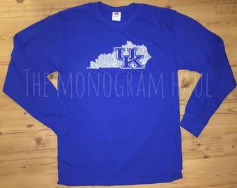 Silver Glitter Kentucky Wildcats shirt / UK / Ky Wildcats / University of Kentucky / Lexington Kentucky / Go Cats
