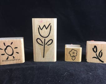 Floral Flower Sun Stamps Rubber Stamps Set of 4
