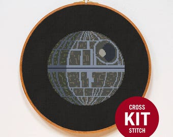 Death Star Cross Stitch KIT, Star Wars Cross Stitch Kit,  StarWars Cross Stitch KIT, Counted Cross Stitch Pattern Instructions