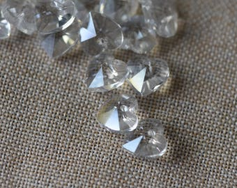 30pcs Faceted Crystal Glass Heart Beads 10mm, Transparent Clear AB (TS84-1)