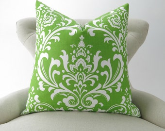 Throw Pillow Cover, Green Damask -MANY SIZES- Chartreuse Green, Lime Green, Green & White, Cushion Cover, Ozborne Premier Prints, FREESHIP