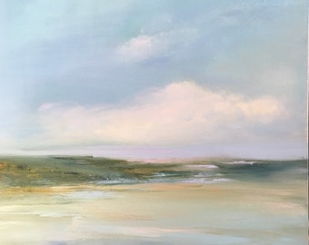 NEW ITEM - Beach Landscape - Oil Painting- Original 20 x 20 Stretched Canvas- 3/4 inch sides- Ready to Hang or Frame- -Atmospheric Painting