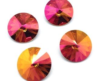 Swarovski Crystal Rivoli, #1122, 14mm, 4 pieces, Mahogany