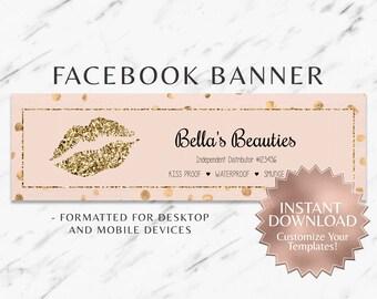 Gold Glitter Blush Pink LipSense Facebook Banner Social Media Facebook Banner SeneGence LipSense Distributor Branding Marketing INSTANT