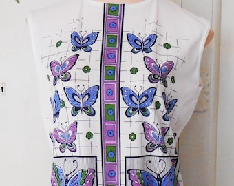 Vintage, Top, Tunic, Screen Print, 1960s, Butterfly, Retro Print, Mod Top, 40 Bust, 60s Mod Tunic, Retro Print, Mod Print Top, Blue, Purple