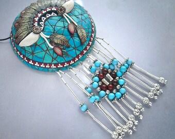 Feather Headdress Pendant, Turquoise Pendant, Southwestern Pendant, Native American, Polymer Clay, Handmade, Statement Pendant, Wearable Art