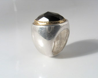 Smoky quartz  faceted stone set in gold on Sterling silver ring,hand made  cocktail and statment ring made in Canada-Smokey on the Water .