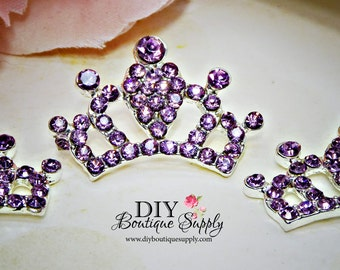 Super Bright Lavender Crystal Rhinestone Crown Flatback Flat Back Princess Embellishment Baby Headbands Supplies flower centers 30mm 664053