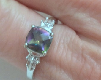10K White Gold Solitaire Square Mystic Topaz Ring Size 7 SALE TODAY!!!