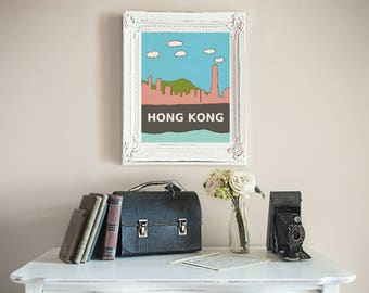 Hong Kong // Asia, Asian, Urban, City Skyline Illustration, Kids Room, Nursery Decor, Home Town Love, City Pride, Hometown, City Poster