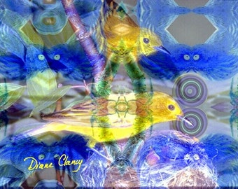 Digital Painting: Nature Reflections I - Gold & Blue Birds - Matted 5x7 Fine Art Print