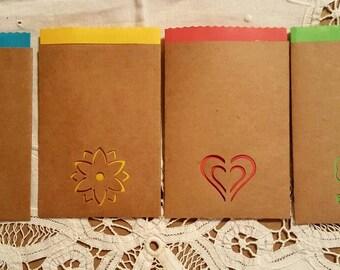 Handmade, Journal pockets, tag holders, embellishments, scrapbooking, smash journals, decorative bags, kraft paper