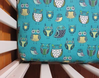 Teal Owls -Baby/ Toddler Crib Sheet-Fitted Crib Sheet-Sheets- Bedding-Nursery-