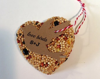 100 Bird Seed Heart Shaped Favors - Bird shaped personalized bird seed favors