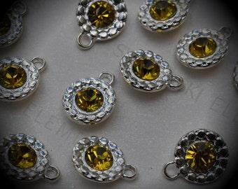 Genuine Silver Plated Swarovski Crystal  Daisy Flowers Charms In Lime