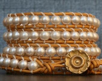 wrap bracelet- cream glass pearls with on gold leather - bohemian wedding jewelry - boho