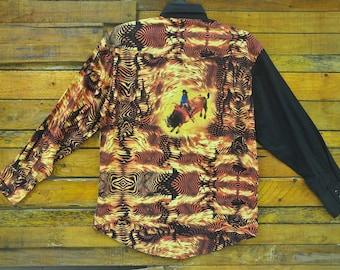 Rare Vintage WRANGLER Snap Button Western Shirt,Size L,90s Wrangler Cowboy Shirt,Rockabilly,Retro,90s Swag.Aloha Hawaii,Vintage 90s