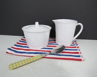 Vintage Genuine Melamine Brand Cream and Sugar Set // White Plastic Sugar Bowl and Creamer Pitcher Melmac Retro Plastic More Sets Available
