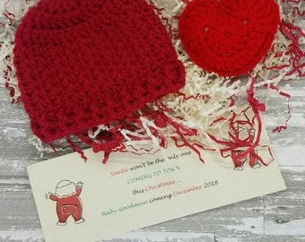 Christmas Hat, Baby First Christmas, Grandparent baby announcement ,SHIPS SAME DAY,Grandparent pregnancy announcement, Christmas Photo Prop